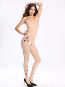 Sexy Women Sheer Full Body Stockings with Rose Printing pictures & photos