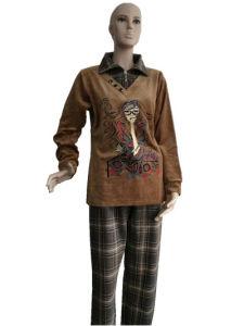 Lady′s Fashion 2PCS Leisure Suit Sport Coral Fleece Autumn