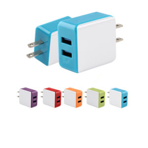 Colorful 5V 2A Dual Port Flat Wall Mount Travel Wall Charger for Smartphone pictures & photos