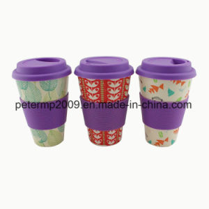 Reusable Biodegradable 400ml 16oz Bamboo Fiber Cup with Silicone Lid and Holder pictures & photos