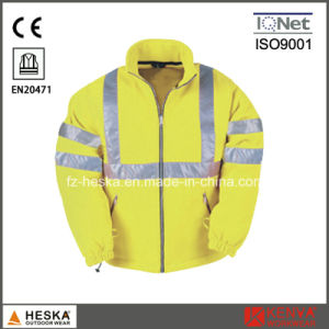 High Visibility Safety Wear Men Winter Hivis Fleece Jacket En20471 pictures & photos