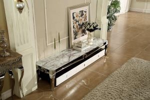 Popular Marble TV Stand Stainless Steel Frame with Drawer pictures & photos