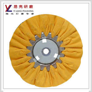 Yellow Cloth Fold Wind Polishing Wheel with Strong Cutting Force pictures & photos