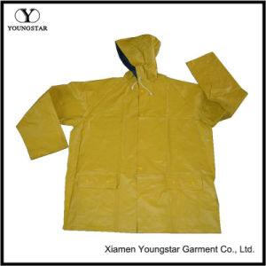 Yellow Rain Slicker Waterproof PVC Raincoat Men Breathable Rain Jacket pictures & photos