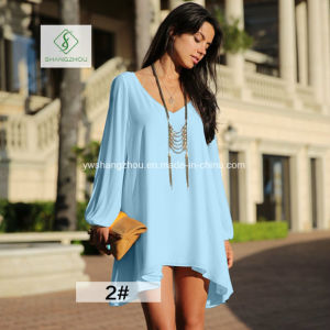 Hot Sale European Summer V-Collar Chiffon Loose Fashion Lady Dress pictures & photos