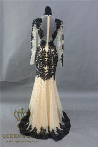 2017 Long Sleeve Nude+Black Lace Mermaid Prom Dress Wedding Gown pictures & photos