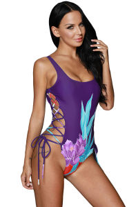 Floral Print Side Lace up One Piece Swimsuit pictures & photos
