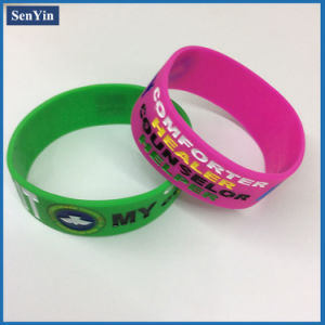 Debossed Color Filling Wrist Bracelet Silicone Band pictures & photos