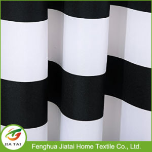 Black White Horizontal Striped Fabric Bathroom Shower Curtain pictures & photos