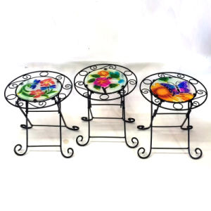 3 Asst Garden Decoration Stained Glass Chair Metal Flowerpot Stand Craft pictures & photos
