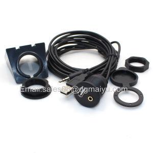 2m USB 2.0 & 3.5mm 1/8 Car Dashboard Flush Mount Audio Aux Extension Cable Lead pictures & photos