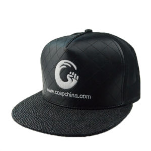 High Quality PU 3D Embroidery Snapback Cap Flat Brim Cap pictures & photos