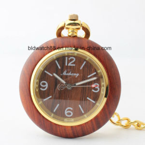 Mechanical Wood Pocket Watch Necklace Pendant Hot Sale pictures & photos