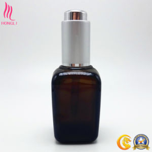 Hot Sale Amber Square Essential Oil Bottles with Silver Dropper pictures & photos