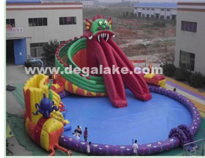 Giant Inflatable Fire Dragon Water Park for Amusement