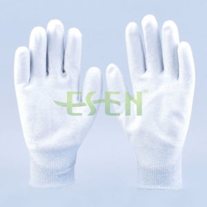 Carbon Fiber PU Palm Coated Nylon Antistatic Glove pictures & photos