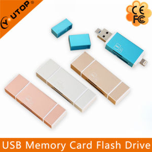 Metal Microsd (TF) +SD OTG Card Reader for iPhone Android Mobile (YT-R004) pictures & photos