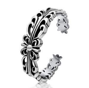 Men Cuff Bracelets Punk Fashion Jewelry Hollow Flower Silver Color pictures & photos