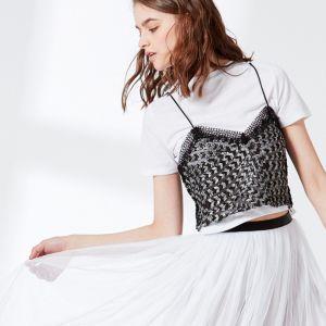 Ladies Two Pieces Set T-Shirt with Lingerie Sequin Condole Belt Vest Blouse pictures & photos