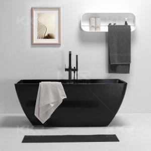 Five Star Hotel Black Acrylic Stone Freestanding Oval Bathtub pictures & photos