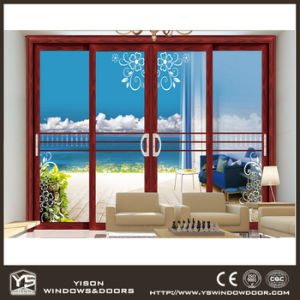 Woodwin Main Product Wood Grain Aluminum Double Tempered Glass Sliding Door pictures & photos