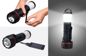 Hand Crank Powered Flashlight/Lantern with Mobile Phone Charger (P16120)