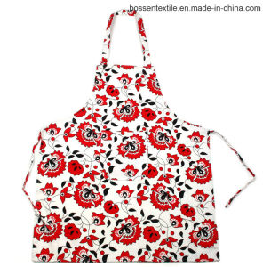 Custom Made Floral Flowers Pattern Printed 2 Pockets Cotton Twill Kitchen Cooking Bib Apron pictures & photos