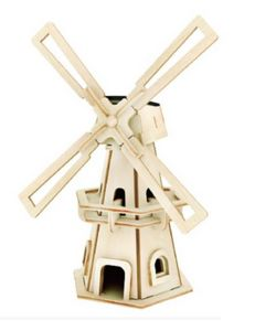 Educational 3D Wooden Building Puzzle Solar Power Windmill Toys pictures & photos