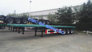 Cimc 50 Tons Container Transport Semi Trailer, 3 Axle Flatbed Trailer pictures & photos