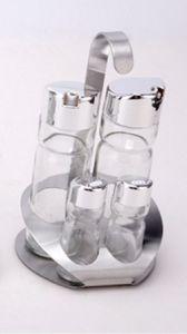 Transparent 4-PCS Soy Sauce Bottle Spice Rack Set (CS-050) pictures & photos