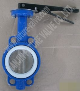 Pn16 Dn100 Wafer Type Butterfly Valve with PTFE Seat