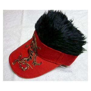 Golf Visor with Haris/ Fur with Chinese Dragon Pattern pictures & photos