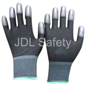 Black Nylon Glove with PU Coated on Fingertips (PN8013) pictures & photos