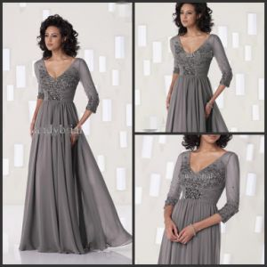 Gray Evening Dress V-Neck Half Sleeves Lace Chiffon Mother Dress Yao10317 pictures & photos