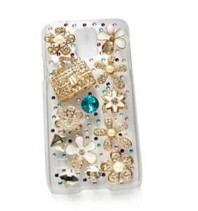 Elegant Crystal Relaxation Bag Flowers Cell Phone Cover