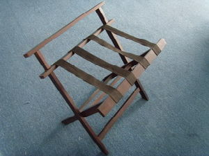 Deluxe Wood Luggage Rack with Backrest