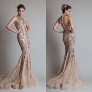 Halter Mermaid Court Beaded Organza Prom Dress W147197 pictures & photos