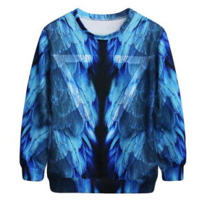 Vestidos Casual Free Shipping Pullover Roupa Feminina Blusao Feminino College Hoodies Cheap 3D Blue Feather Sweatshirts Female