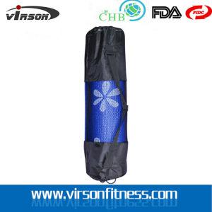 Black Nylon Drawstring Piiates Yoga Mat Bag