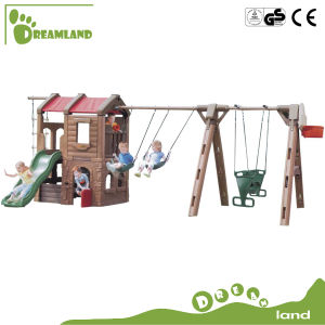 High Quality Kindergarten Plastic Slide and Swing pictures & photos