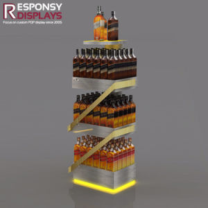 Customized Novel 3 Tires Floor Bottle Rack Metal Wine Display Stand pictures & photos