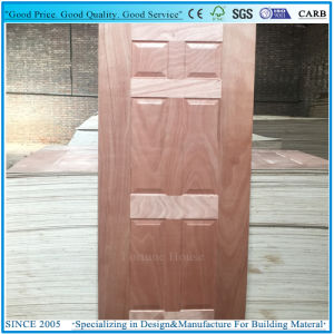 Engineered/Natural Sapeli Wood Veneered Moulded Plywood Door Skin pictures & photos
