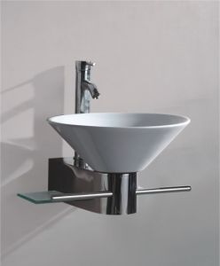 Solid Wood Bracket Glass Wash Basin (7063) pictures & photos