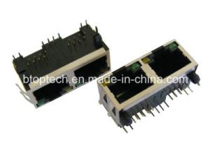 1X2 RJ45 LAN Jack with LED