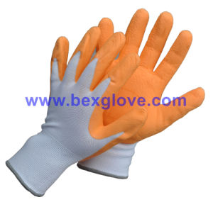 Pretty Garden Glove, Foam Finish, Latex Work Glove pictures & photos