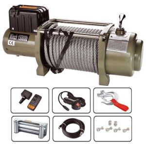Huge Lift 24V 15000lbs /6804kg Steel Cable Electric Winch