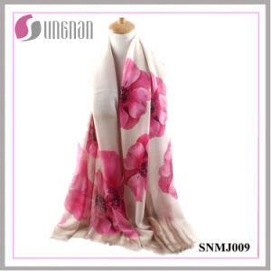 2016 Latest Noble Ladies Shawl Begonia Print Satin Cotton Scarf pictures & photos
