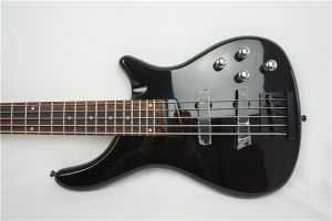 Factory Price Black Colour Solid Basswood Body 5-String Electric Bass pictures & photos