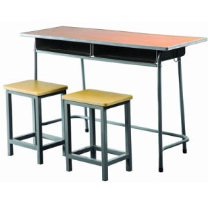 Modern School Furniture Classroom Double Student Desk and Chair (FS-3228) pictures & photos