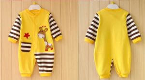 Eco-Friendly Infant Striped Romper with Cute Animal Printing & Embroidery pictures & photos